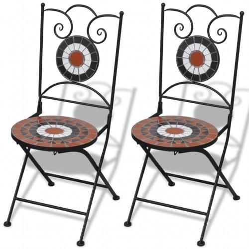 2 chaises mosaïques de bistro terre cuite / blanche