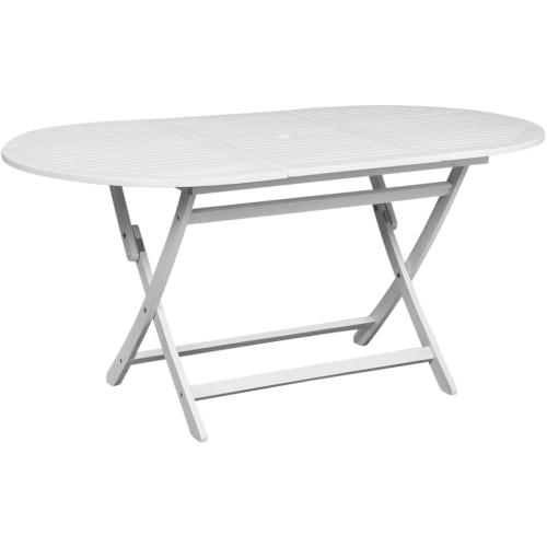 Table d'extérieur en bois d'acacia Ovale Blanche