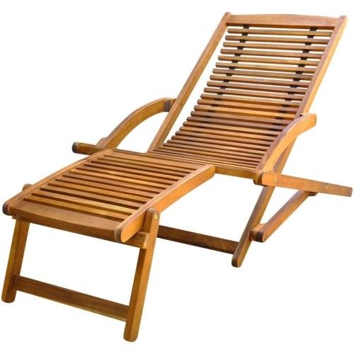 Chaise de terrasse avec repose-pieds en bois d'Acacia