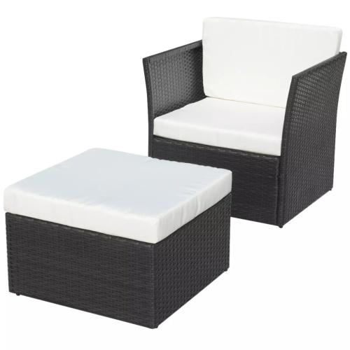Chaise de jardin avec tabouret Noir Résine tressée