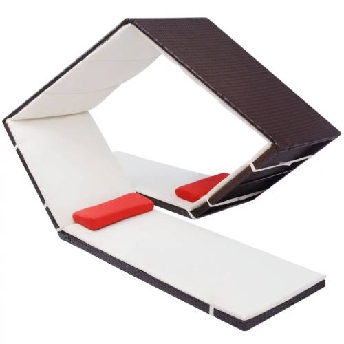 Chaise longue en forme de diamant Marron Résine tressée