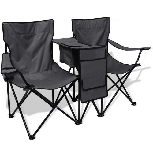 chaise de camping pliante double grise avec porte gobelet. Black Bedroom Furniture Sets. Home Design Ideas