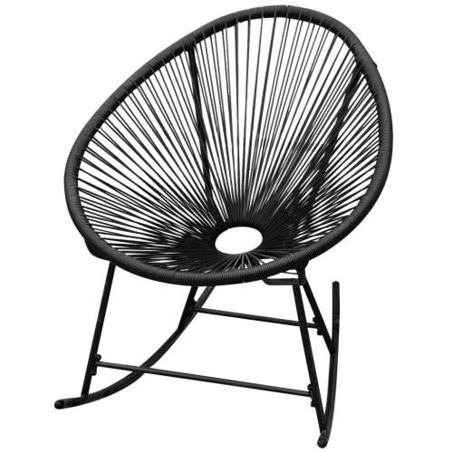 Chaise à bascule de jardin en rotin synthétique noir