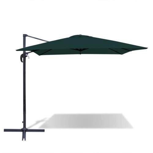 Зеленый алюминиевый консольный квадратный зонтик 2,5x2,5 м
