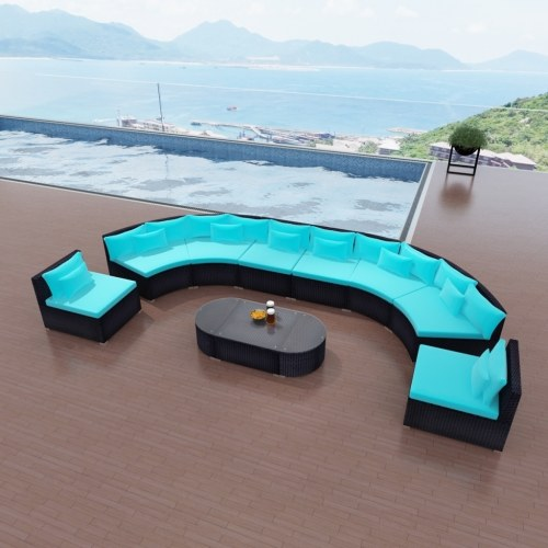garden furniture tropical blue braided resin