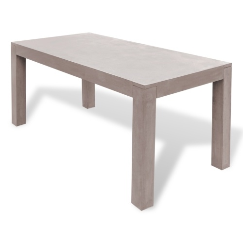 rectangular concrete outdoor dining table