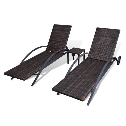Set 3 pezzi sedia lunga con tavolo in resina intrecciata marrone