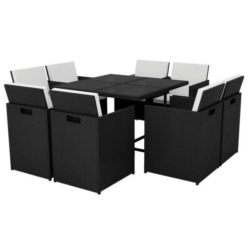 Ensemble de Table et chaises 8 personnes Résine tressée - Noir