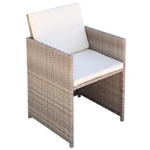 Комплект наружной мебели 25 шт. Серая / бежевая плетеная смола