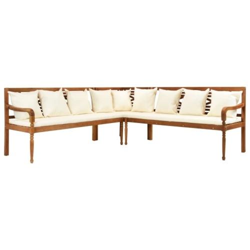 Canapé d'angle de jardin avec coussins Bois d'acacia massif