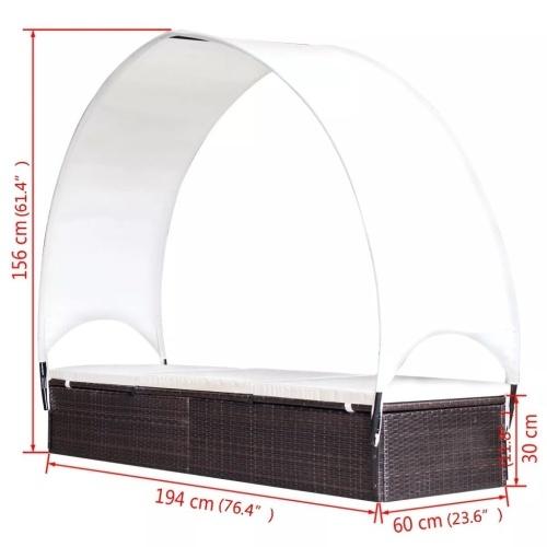 Chaise longue con tenda 194x60x30 / 156cm in resina intrecciata marrone