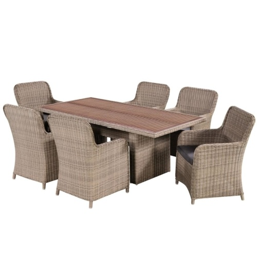 garden furniture 13 pcs acacia wood and braided resin