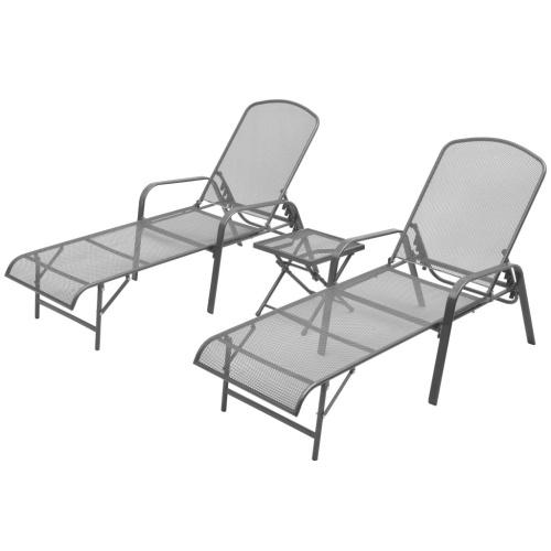 Lot de 2 chaises longues avec table Maille d'acier Réglable