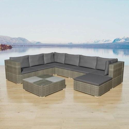 set of garden sofa 24 pcs gray braided resin