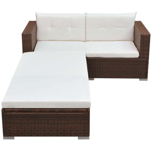 ensemble de canap de jardin ext rieur 3 4 personnes rotin synth tique marron. Black Bedroom Furniture Sets. Home Design Ideas