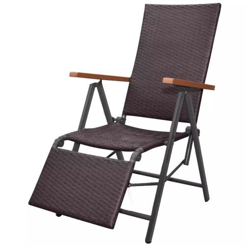 Chaise longue inclinable Résine tressée - Noir