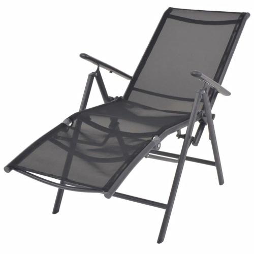 Chaise longue inclinable Textilène - Noir