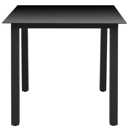 Table à manger de jardin Verre Aluminium - Noir
