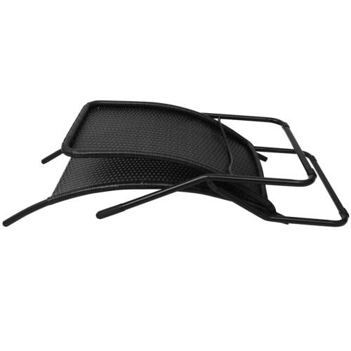 Chaise longue pieghevole in resina intrecciata nera