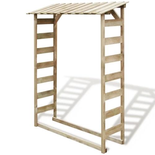 Abri bûches en pin cap.1 stère rangement stockage bois 150x44x176cm