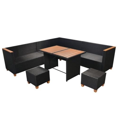 outdoor furniture 29 pcs wpc resin black wpc top