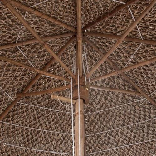 バナナの葉の屋根を持つ竹のパラソル210センチメートル