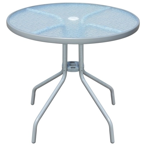 Table de jardin ronde 80 x 71 cm Acier - Gris
