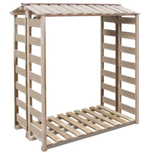 Bûcher en pin cap.2 stères stockage rangement bois 1.5x1x1.76m