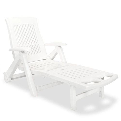 Chaise longue avec repose-pied Plastique Blanc