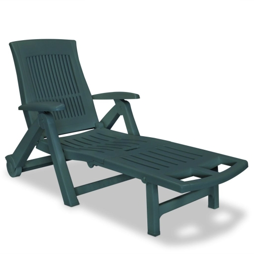 Chaise longue avec repose pied plastique vert for Chaises longues plastique