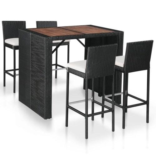 Nur 429.00€, Salon de jardin bar résine tressée et bois d'acacia  marron-noir - Interouge