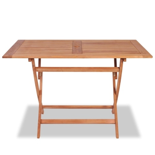 Festnight Dining Room Table Folding Dining Table for Garden or Terrace 120x70x75 cm Teak Wood