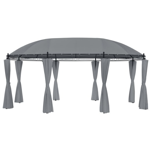 Festnight Arbor with Curtains Gazebo 530x350x265 cm Anthracite