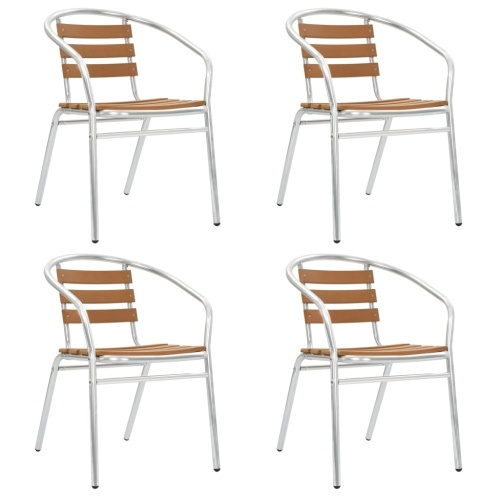Festnight Stackable Chairs for Garden, Patio or Kitchen 4 pcs Aluminum and WPC Silver and Brown