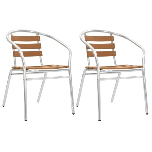 Festnight Stackable Chairs for Garden, Patio or Kitchen 2 pcs Aluminum and WPC Silver and Brown
