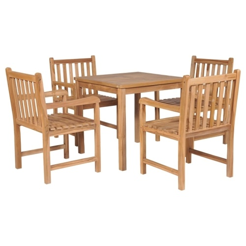 Festnight Outdoor Dining Set 1 Table and 4 Chairs for Kitchen, Garden or Terrace Teak Solid Wood