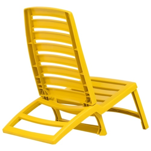 Festnight Foldable Beach Chair Camping Chair 4 pcs Yellow Plastic 42 x 58 x 64 cm