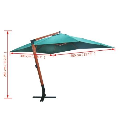"Parasol flutuante Melia 118.1 ""x157.5"" Verde"