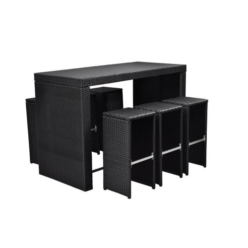 Noir Poly Rotin Garden Bar Set