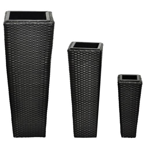 Modern vases in black rattan flower pots, vases from 3 September