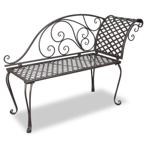Métal Jardin Chaise Lounge Antique Brown Scroll-motifs