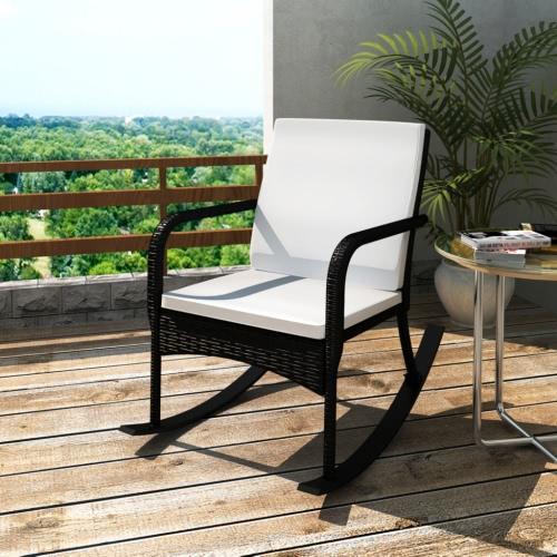 Jardin noir Rocking Chair Qualité Poly Rotin