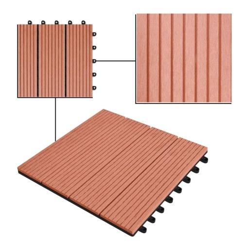 "WPC Tiles 11.8 ""x11.8"" 11 pcs 11 ft2 Brown"
