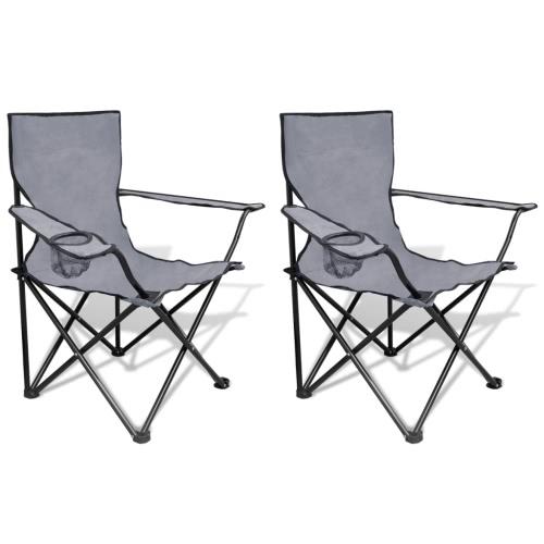 Chaise pliante Set 2 pcs chaises de camping en plein air avec sac gris