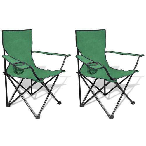 Chaise pliante Set 2 pcs chaises de camping en plein air avec sac vert