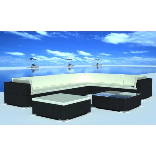 24 pcs Noir Poly Rotin Seat Set Meubles de jardin