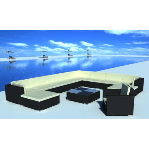 35 pcs Noir Poly Rotin Seat Set Meubles de jardin