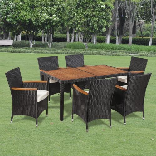 Poly Rotin Garden Dining Set 6 chaises et une table en bois Top