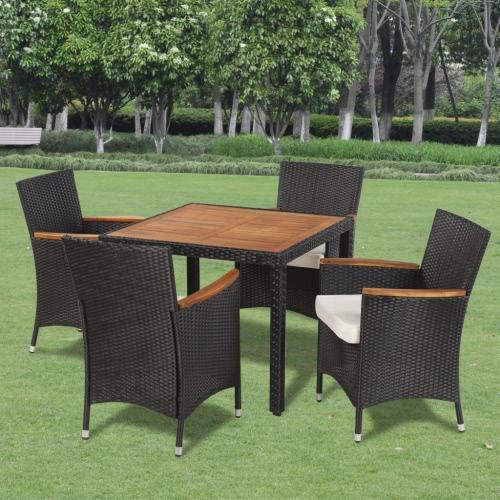 Poly Rotin Garden Dining Set avec 4 chaises et table avec bois Top