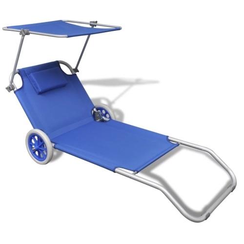Sunbed Dobrável Com Canopy E Rodas Alumínio Azul